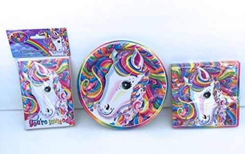 Lisa Frank Rainbow Majesty Happy Birthday Cake & Ice Cream Party Pack Set for 8 Guests