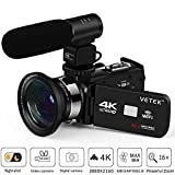 Camcorder, Video Camera 4K VETEK Ultra HD Digital WiFi Camera 30.0MP 3.0 inch Touch Screen IR Night Vision 16X Digital Zoom Recorder External Microphone Wide Angle Lens,2 Batteries (Color: 3-VETEK)