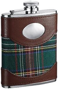 "Visol ""Edinburgh"" Plaid Cloth Wrapped Hip Flask, 6-Ounce, Brown"