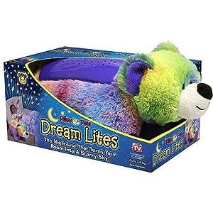 Pillow Pet JUMBO Dream Lites Nightlight Teddy Bear Rainbow Purple Sleep Timer
