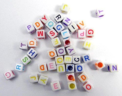 LOOM BANDS Bandz Kette Buchstaben Bastel Extras Ziffern Hashtag Alphabet Clips LB27 (50er Pack White/Color)