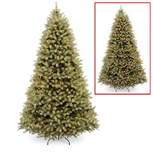 National Tree Company Feel-Real Down Swept Douglas Fir Hinged Pre-Lit Dual-Color Led Christmas Tree, Dual Light Clear-Multi, Pe/Pvc, 9 Ft.
