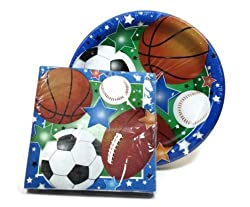 Sports Themed Party Supply Pack - Plates and Napkins - Baseball, Football, Soccer, Basketball