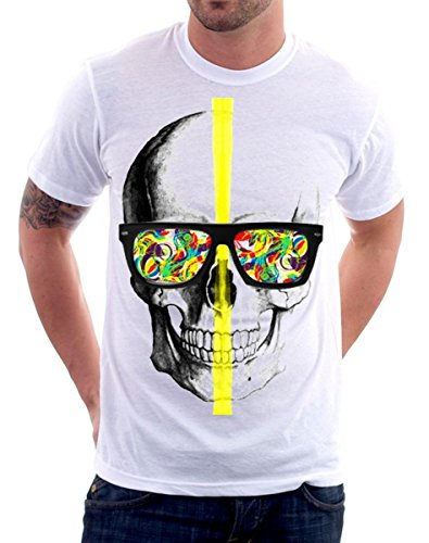 t-shirt skull, glasses, colors - teschio, occhiali da sole, colori - S M L XL XXL maglietta by tshirteria