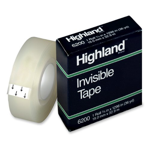 Highland Invisible Permanent Mending Tape 3 4 x 1296 Inches 1 Inch Core Clear 6200341296B00006IF60