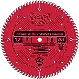 Freud LU79R010 Thin Kerf Ultimate Plywood & Melamine Saw Blade 10 inch x 80t Hi-ATB 5/8 inch arbor Perma-Shield Coated