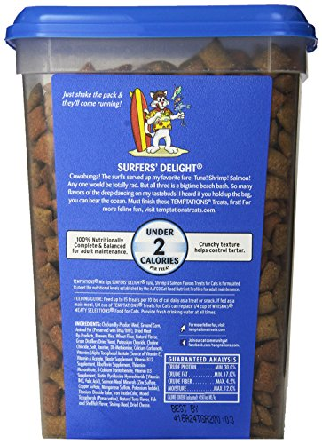 TEMPTATIONS MixUps SURFERS' DELIGHT Flavor Treats for Cats. Pouch Mega Bag whiskas temptations hearty beef flavour treats for cats
