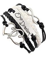TOOGOO(R) Antique Silver Charm One Direction Infinity Coeur blanc noir tresse cordon de bracelets en cuir Bracelets cadeau de Noel