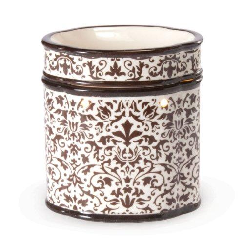 Damask Electric Wick Less Ceramic Candle Tart Warmer (Brown)