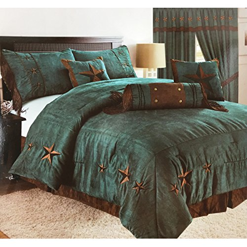 western peak oversize embroidery texas western star micro suede turquoise brown comforter bedding suede 7 pieces