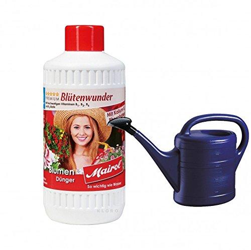 MAIROL Blumen-Dünger Liquid Blütenwunder 500 ml + GELI Gießkanne aus Kunststoff 5 Liter