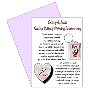 9th Wedding Anniversary Gift For Husband : Husband 9th Wedding Anniversary Card With Removable Keyring Gift - 9 ...