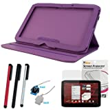 Evecase Purple 360 Degree Rotating Folio Leather Cover Case with Built-in Stand + LCD Screen Protector + Stylus(Silver/Black/Red) + LCD Screen Cleaner Strap for Motorola XOOM 2 (10.10 inches)