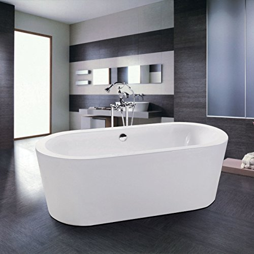 MAYKKE Harrow 59 Inches Modern Oval Acrylic Bathtub Freestanding White Tub in Bathroom, 13-3/8 Inches Water Depth, 43 Gallons Water Capacity, XDA1410001 (Freestanding Cadet compare prices)