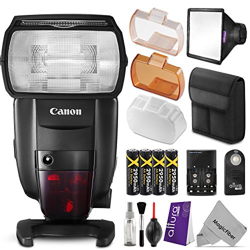 Canon-Speedlite-600EX-II-RT-Flash-for-Canon-DSLR-Camera-w-Essential-Bundle-Includes-AA-Rechargeable-Batteries-w-Charger-Softbox-Flash-Diffuser-Wireless-Remote-Control-Camera-Cleaning-Set