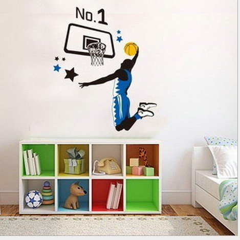 Home Wall Decor Decals Poster House Wall Stickers Quotes Removable Vinyl Large Wall Sticker For Kids Rooms Stickers Basketball W-504 front-448576