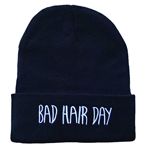 ***Bad Hair Day ***Black Beanie Hat Souvenier Gift Unique