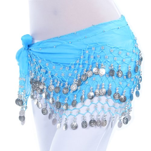 Lake blue 128silver coins Chiffon belly dance hip scarf christmas gift