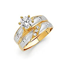 buy 14K Two Tone Gold Solid Engagement Ring And Wedding Band 2 Piece Set - Size 7.5