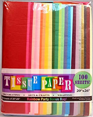 """Assorted Rainbow Color Tissue Paper Bonus Pack, 20"""" x 26"""", Pack Of 100 Sheets!"""