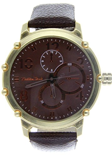 Montres Carlo Brown Faux Leather Watch, Gold Case/Brown Dial