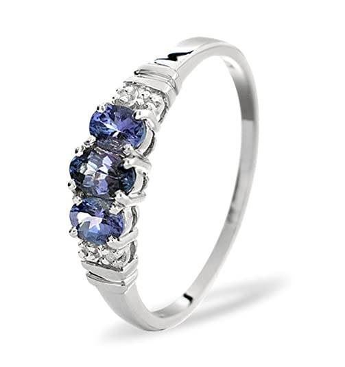 TheDiamondStore | Ring - Oval Tanzanites & Diamond - 9K White Gold