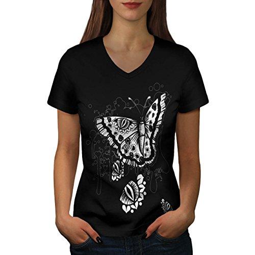 graphique-papillon-insecte-art-femme-nouveau-noir-l-t-shirt-wellcoda