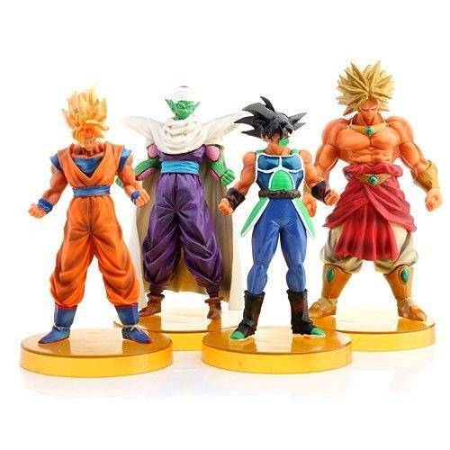 4pcs DragonBall Z Cartoon Figures Toy Set: Brolly Bick Bardock Goku PVC Doll