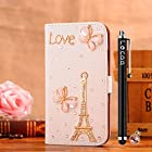 Locaa(TM) Apple IPod touch 5 Itouch5 3D Bling Case + Phone stylus + Anti-dust ear plug Deluxe Luxury Crystal Pearl Diamond Rhinestone eye-catching Beautiful Leather Retro Support bumper Cover Card Holder Wallet Cases - [General series] Eiffel Tower butterfly