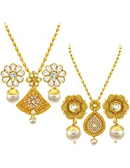 Sukkhi Marquise Gold Plated Set Of 2 Necklace Set Combo For Women
