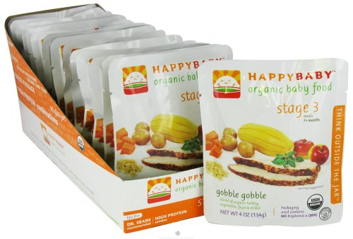 Happybaby Organic Baby Food Stage 3 Meals Ages 7+ Months Gobble Gobble - 4 Oz, Pack of 8