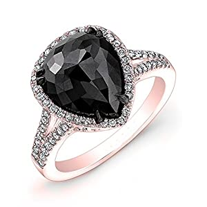 4.96 carat Rose & Round Brilliant Cut Black & White Diamond Anniversary Engagement Ring in 14k Rose Gold