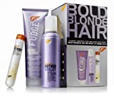 Fudge Bold Blonde Hair includes Fudge Clean Blonde Violet Toning Shampoo 300ml/ Fudge Hot Hed Violet 200g and Fudge Gloss Defrizz Serum 50ml