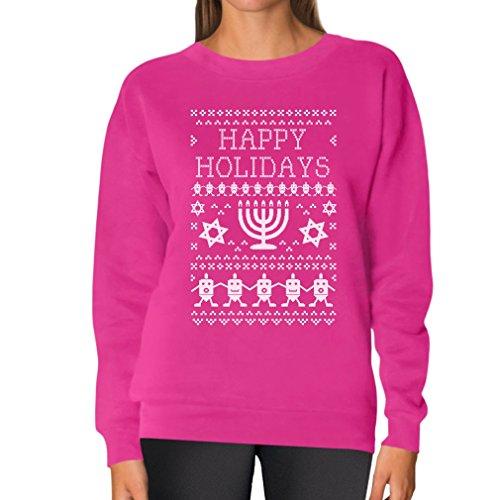 TeeStars Women's - Happy Hanukkah Ugly Sweater Sweatshirt Medium Pink