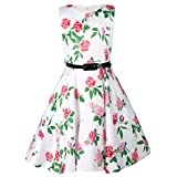 Ephex Toddler Girls' Sleeveless Vintage Print Floral Party Dress