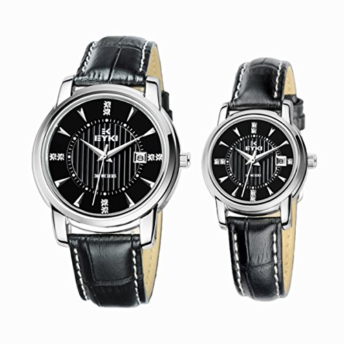 Eyki Ori-0147E 30M Wr Black Strape & Round Dial Quartz Couple Watches For Lovers