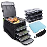 Big Cycle Meal Prep Bag - Insulated Meal Bag with 6 Portion Control Trays - Perfect as Insulated Lunch Bag or Meal Management Bag - Portable, Compact Design, Camping and Picnic Bag - BPA Free