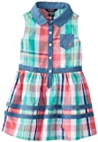 Nautica Girls 2-6X Plaid Dress with Chambray Detail