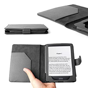 DURAGADGET Stylish Black Faux Leather Folio Book Style Case / Cover For Kobo GLO 6 Inch 2012 eReader, With Magnetic Clasp & Inner Slip Pocket at Electronic-Readers.com