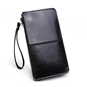 KKMO Zipper Wallet Genuine Long Leather Case Credit Card Holder/Cash pocket for iPhone 6 6S Plus 5S 4, Galaxy S5 S6 Edge Note 4 5 Nexus 5, LG G4 HTC One M9 Sony Z4 Moto X(Black)