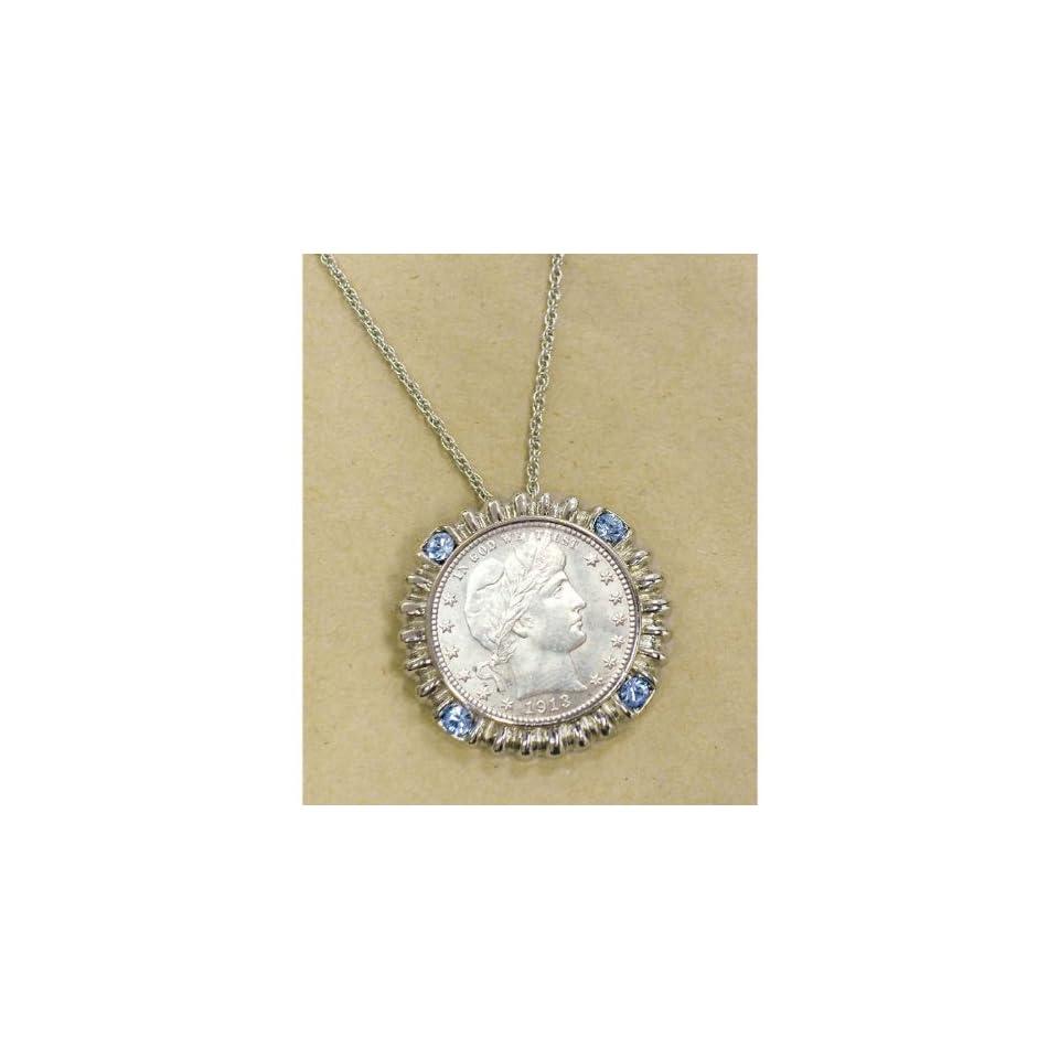 Silver Barber Quarter Silvertone Blue Crystal Pendant