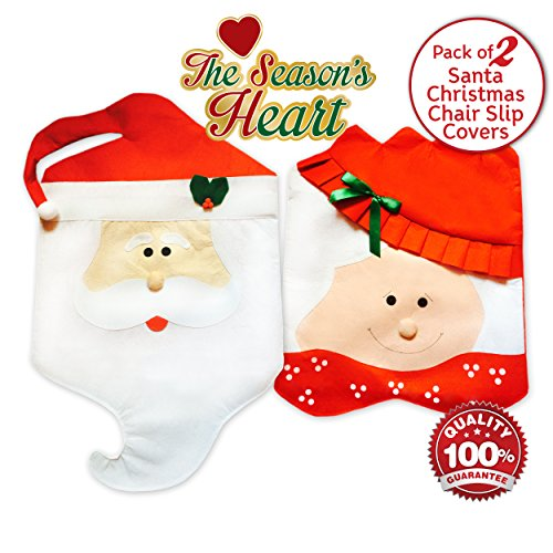 Santa Claus Christmas Kitchen Chair Slip Covers - Set of Two Santa Hats Sure Fit for Kitchen and Dining Room Chairs