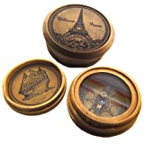 Pocket Watch Style Antiquated Brass Compass - Eiffel Tower Paris - Very Beautiful!