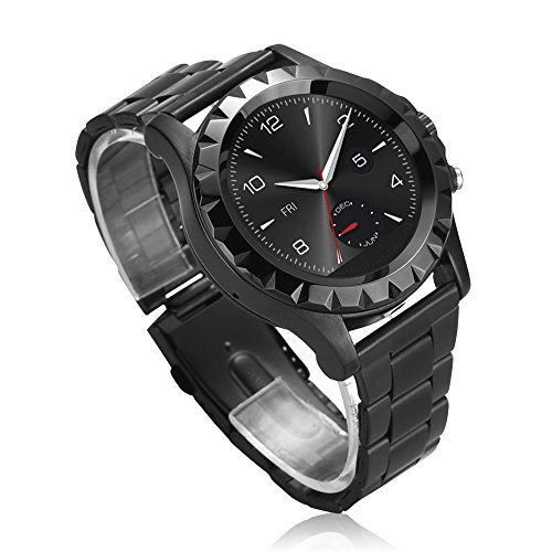 JideTech® Bluetooth Wristband Smart Watch With Leather/Steel Watchband Touch Screen 3MP Camera IP67 Waterproof, Build-in Microphone and Speaker Sync Call and Messages (Black+Steel)