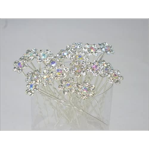Pack of 20 Clear Rhinestone Crystal Flower Hair Pins Ideal