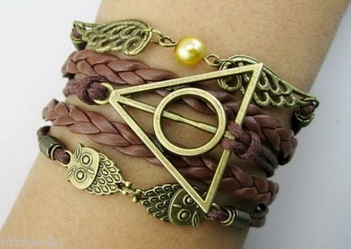 Harry Potter Braided rope, platted Leather bracelet, Snitch Angel Wings, Owl, Deathly Hallows Charm Bracelet