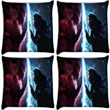 Snoogg Art Work Magic Hunter Pack Of 4 Digitally Printed Cushion Cover Pillows 16 X 16 Inch