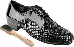 Very Fine Men\'s Salsa Ballroom Tango Latin Dance Shoes Style CD1418 Bundle with Dance Shoe Wire Brush, Black Patent 11 M US Heel 1 Inch