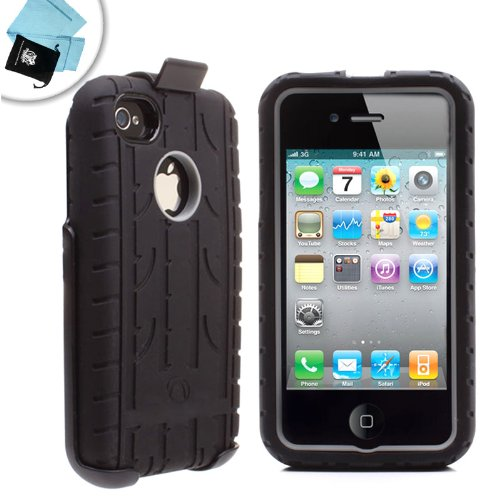 Rugged Impact-Absorbing 3-in-1 Protective Case With Rotating Quick Loading Holster for Verizon and AT&T iPhone 4S * Includes Accessory bag and 2 Micro Fiber Screen Cleaning Cloths