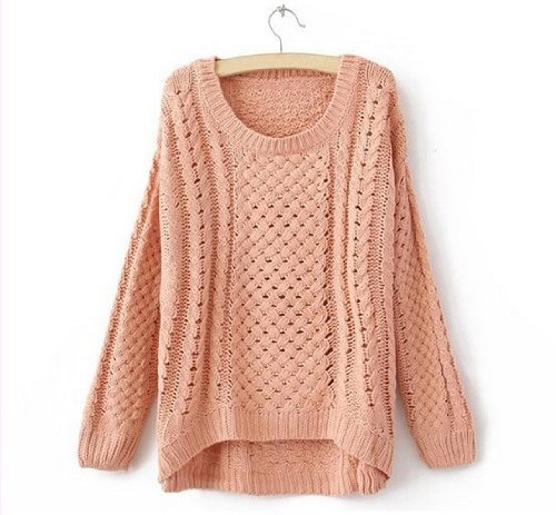 Women Hot Round Neck Hollow Knitted Pullover Jumper Loose Sweater Knitwear (Pink)